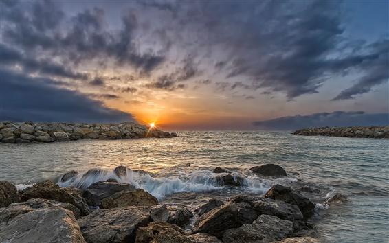 Papéis de Parede Gruissan, França, nascer do sol, rochas, mar, nuvens
