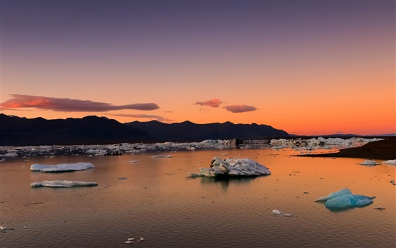 Wallpaper Iceland, mountains, bay, ice floes, morning