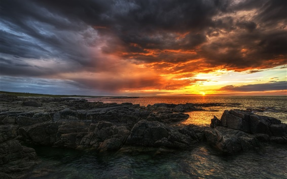 Wallpaper Ireland, County Donegal, sea, beach, rocks, sunset, clouds