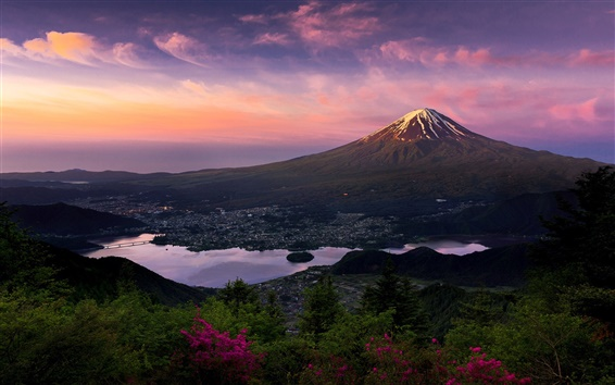 Wallpaper Japan, Fuji volcano, mountain, morning