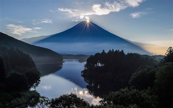 Обои Япония, Fuji, вулкан, горы, солнце, озеро, деревья