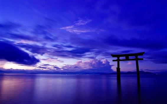 Wallpaper Japan, ocean, sky, clouds, gate, torii, dusk