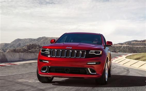 Обои Jeep Grand Cherokee SRT красный автомобиль вид спереди