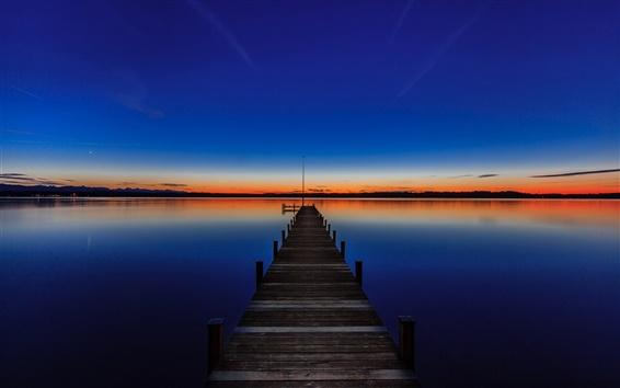 Papéis de Parede Lago Starnberg, Baviera, Alemanha, pôr do sol, cais