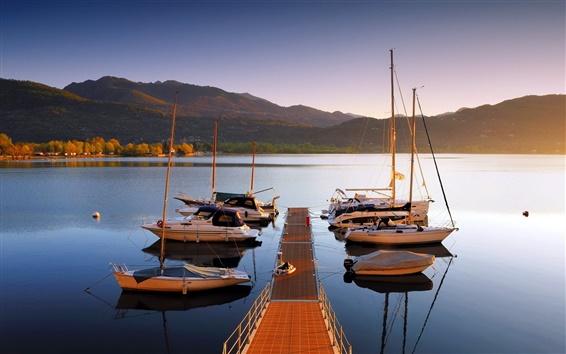 Wallpaper Lake, boats, bridge, sunset