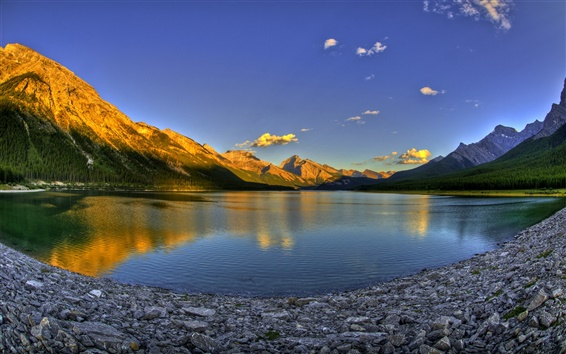 Wallpaper Lake, mountain, sunset, Canada