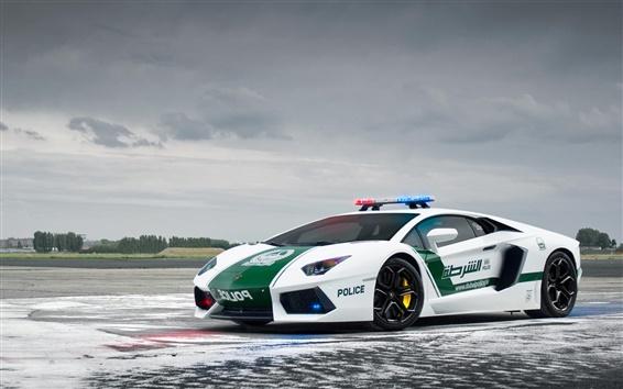 Обои Lamborghini Aventador LP700-4, полицейская машина, Дубай