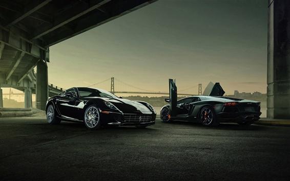 Обои Lamborghini Aventador и Ferrari 599 GTB суперкары