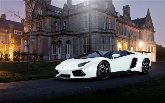 Wallpaper Lamborghini Aventador white supercar, night, house, lights
