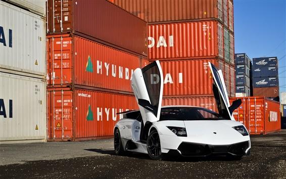 Fond d'écran Lamborghini Murcielago SV supercar blanc