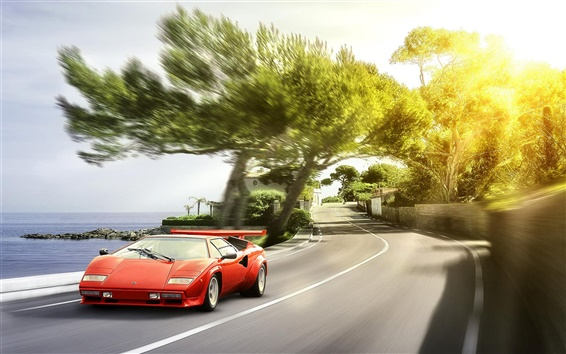 Wallpaper Lamborghini red supercar front view, sun glare