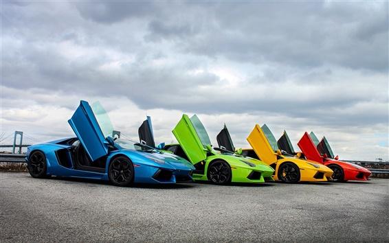 Fond d'écran Lamborghini supercar, bleu, vert, jaune, rouge