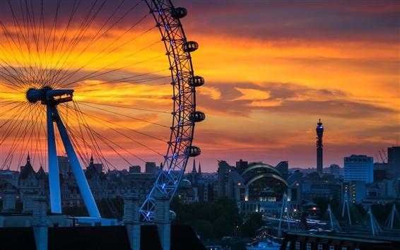 Wallpaper London, England, Ferris wheel, sunset, city, house
