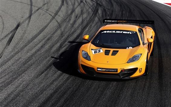 Wallpaper McLaren MP4-12C GT yellow supercar front view