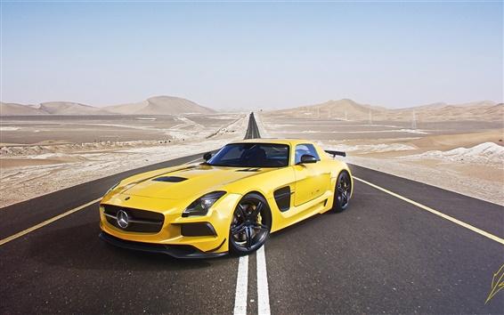 Wallpaper Mercedes-Benz AMG SLS supercar, yellow car