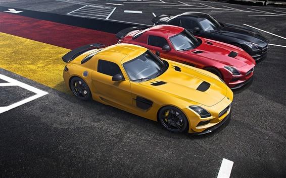 Fond d'écran Mercedes-Benz SLS AMG supercar, jaune, rouge, noir