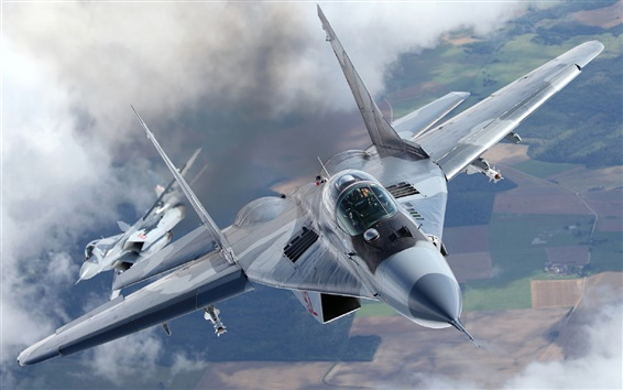 Wallpaper MiG-29A fighter, missiles