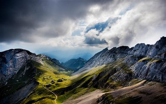 Wallpaper Mount Pilatus, Switzerland, mountains, valley, clouds