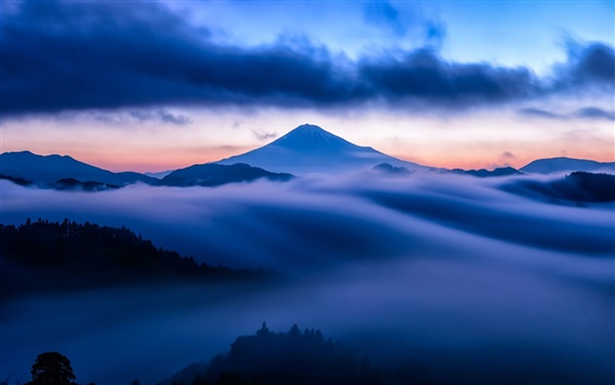 Wallpaper Mountain, mist, sky, clouds, snow, blue style