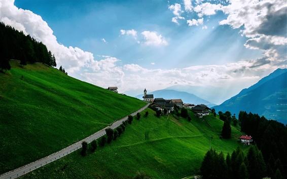 Обои Горы, луга, склоны, дома, небо, облака