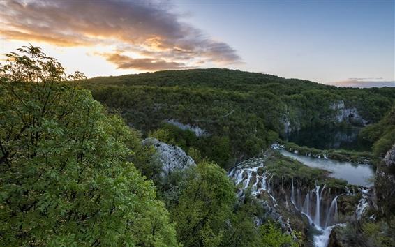 Wallpaper National Park, Plitvice Lakes, Croatia, waterfalls, mountains, trees, morning