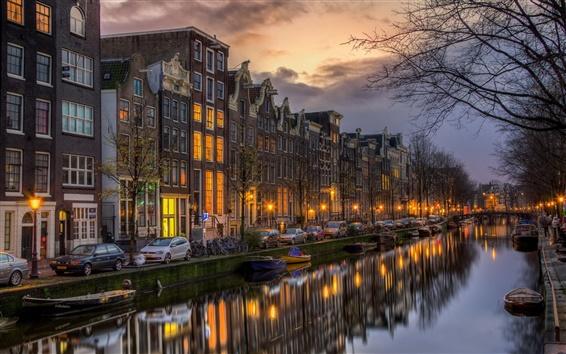 Fondos de pantalla Países Bajos, Holanda del Norte, Amsterdam, pisos, la noche, los barcos, las luces