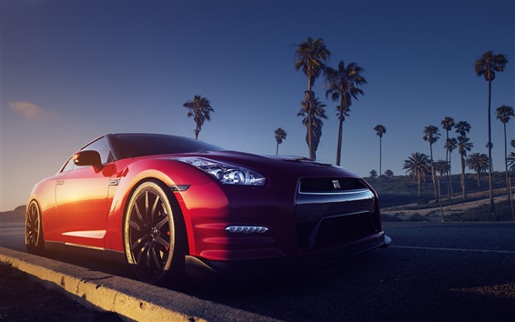 Wallpaper Nissan GTR R35 red car front view