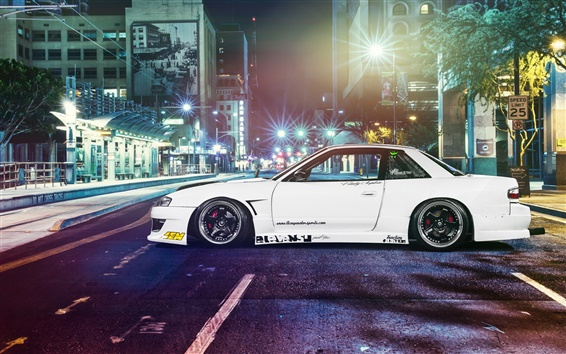 Wallpaper Nissan silvia S13 car, street, night