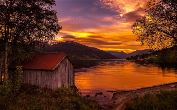 Wallpaper Norway, nature landscape, lake, sunset, trees, wood house