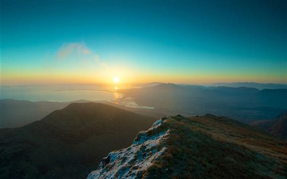 Wallpaper Ocean, mountains, grass, sky, sunset