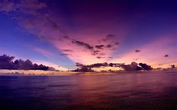 Papéis de Parede Oceano Pacífico, à noite, pôr do sol, céu, nuvens