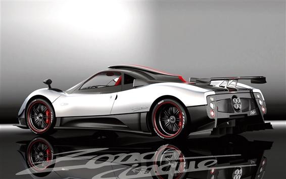 Wallpaper Pagani Zonda white supercar back view