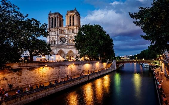 Wallpaper Paris, France, Notre Dame de Paris, city, night, bridge, river, lights