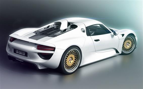 Wallpaper Porsche 918 white supercar back view