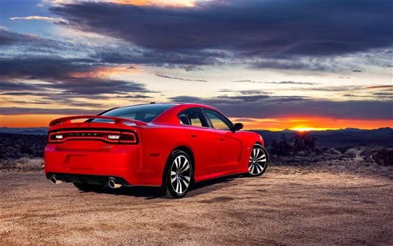 Wallpaper Red Dodge car back view