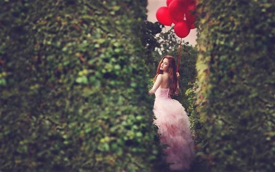 Wallpaper Red balloons, girl
