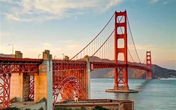 Papéis de Parede Ponte de San Francisco, Golden Gate, céu, nuvens
