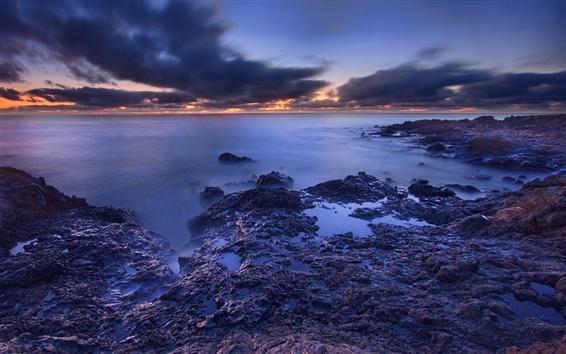 Fondos de pantalla Mar, playa, amanecer, nubes, salida del sol