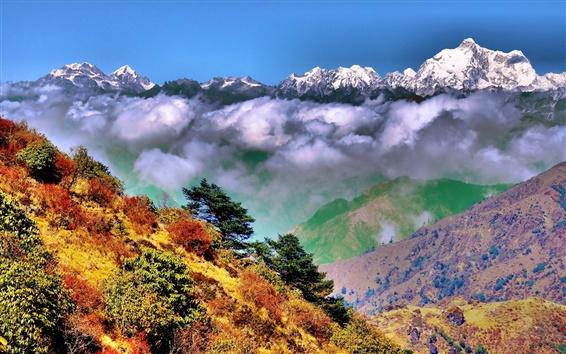 壁紙 Singalila国立公園、西ベンガル、インド、ヒマラヤ、秋、雲