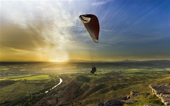 Wallpaper Sports, sunset, paragliding