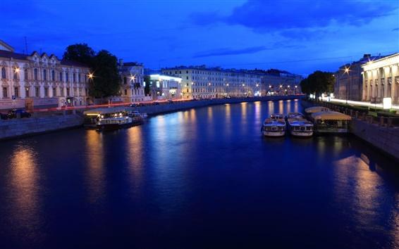 壁紙 サンクトペテルブルク、ロシア、夜、ライト、川、ボート、家