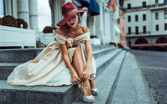 Wallpaper Street style, girl, hat, city, Russia