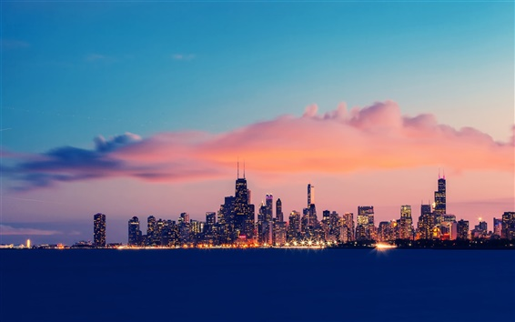 Wallpaper USA, Illinois, Chicago, Lake Michigan, buildings, evening, sky, clouds