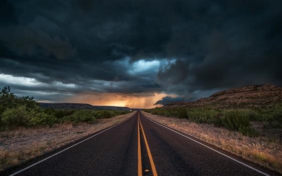 배경 화면 미국, 텍사스, 도로, 아스팔트, 저녁, 구름, 폭풍