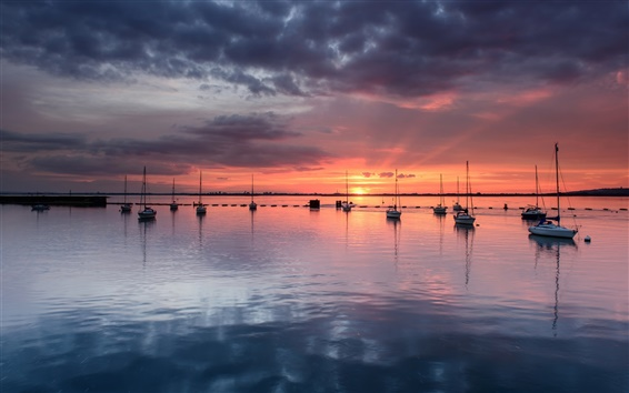 Wallpaper United Kingdom, England, sea, boats, yachts, evening sunset, clouds