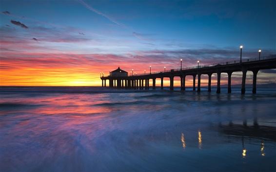 壁紙 米国、カリフォルニア州、マンハッタンビーチ、夕焼け、橋