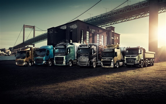 Wallpaper Volvo, trucks, bridge, sunset