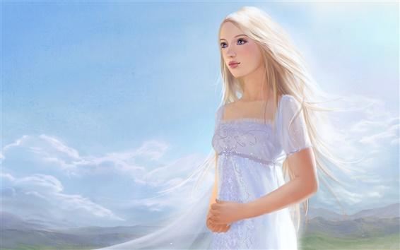 Wallpaper White dress fantasy girl, white hair