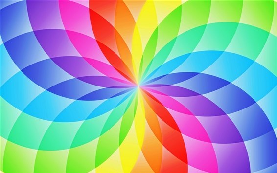 Wallpaper Abstract design, circle sector, flower, rainbow