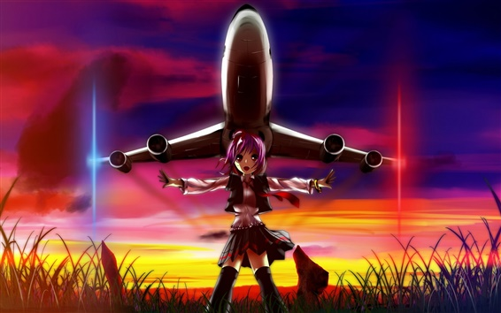 Wallpaper Anime girl, airplane, sunset